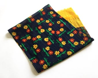 Flower power scarf,  red and yellow flowers on navy blue, vintage womens scarf