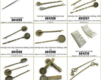 Jewelry Making Supply Charms Findings Hair Pin Hairpin Hairclip Cabochon Setting Frame Clip 10M 12mm 14MM Haircomb Comb Stick Bronze Tone