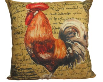 Vintage Red and Brown Farm Rooster - Pillow Cover
