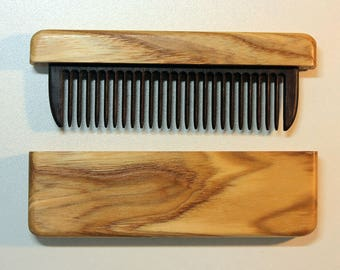 Comb in a case of ash wood