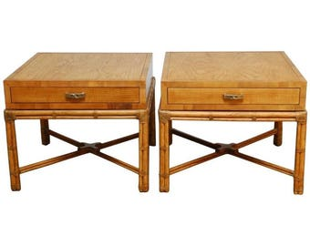 Elegant Pair Of Mid Century Faux Bamboo End Tables By Henredon