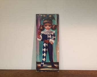 """Moppet Series Big Eyed Girl Harlequin by Eden 15"""" x 6"""" Lithograph Wall Hanging Plaque - Blue & White Diamond Costume"""