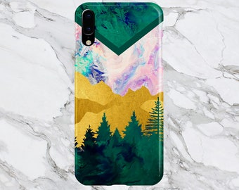 iPhone X Case - iPhone 8 Plus - Protective Phone Case - Samsung Galaxy s8 Case - Google Pixel 2 - Trippy Evergreen Forest x Chevron Swirl