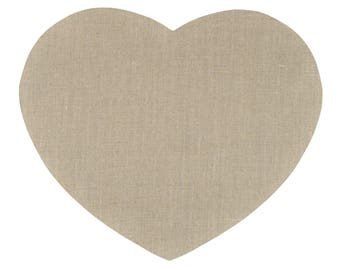 """Placemat fabric """"heart"""" coated """"Naturally linen"""" 48X40cm"""