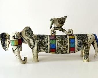 elephant - ceramic elephant - sculpture - ceramic sculpture - bird - art - Israeli art - ceramic