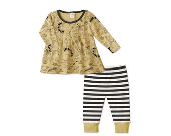 Baby Thanksgiving Outfit, Baby Girl Thanksgiving Outfit, Long Sleeve Top, Leggings, Turkey, Black Stripes, Tesababe TL180TTBK0000