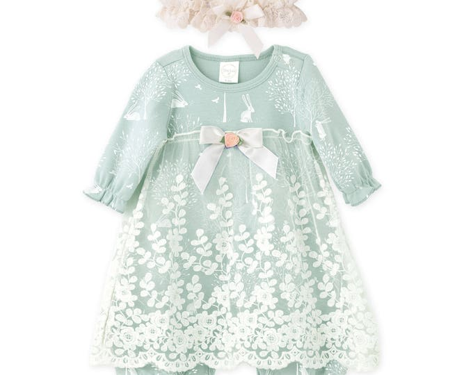 Easter Baby Girl Lace Dress, Newborn Girl Outfit, Baby Girl Onesie Skirted Romper Sage Floral, Girl Romper Green Lace Headband