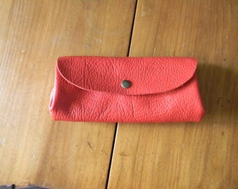 Hand made red leather wallet