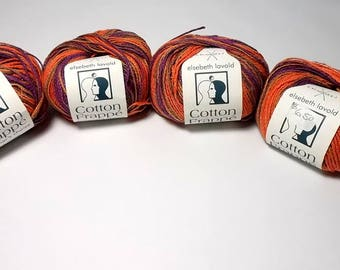 Elsebeth Lavold Cotton Frappe Multi yarn, 4 skein lot, purple, orange, tan