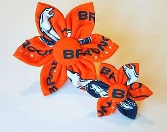 Broncos inspired dog collar flower, collar flower, pet collar flower, wedding flower, flowers for dog collars