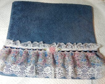 Floral Ruffled Blue Hand Towel