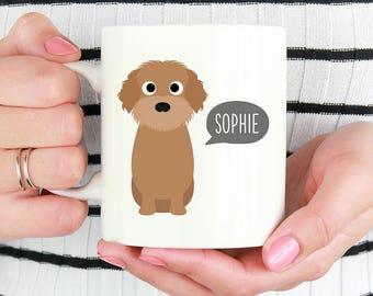 Doodle Labradoodle Mug, Personalized Name Coffee Mug, Custom Dog Mug, Pet Coffee Mugs, Dog Lover Gift 11oz 15oz Coffee Mug Cup, Glass