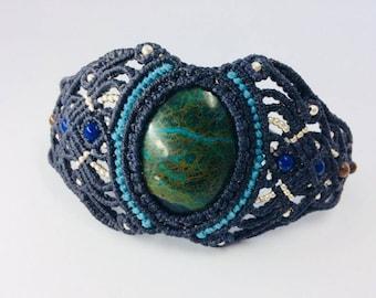 Macramé bracelet with peruvian chrysocolla turquoise stone silver beads lapis lazuli tigers eye besds macrame armband knotted bracelet