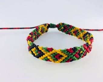 Macrame bracelet, friendship bracelet , unisex, colourful, knotted, woven braceket, waxed thread, beach wear, festivals