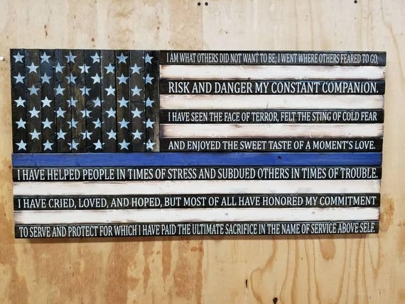 "Rustic Wooden American Flag w/ Veteran's Creed (19""x37"")"