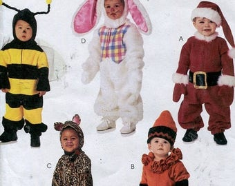 SUMMER SALE Toddlers Costume Pattern McCalls 3755 Bee Bunny Santa Cat Crayon Size 1 to 4 UNCUT