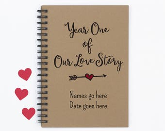 "Personalized, Year One of Our Love Story, 5""x7"" Journal, writing journal, notebook, diary, memory book, scrapbook, gift for boyfriend, gift"