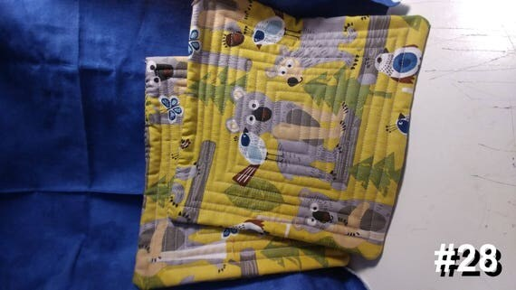 CHARITY (Yellow with woodland animals HOT PAD set of 2 #28)