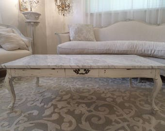 Stunning Antique French Marble Top Coffee Table Vintage Shabby Chic Paris Apartment