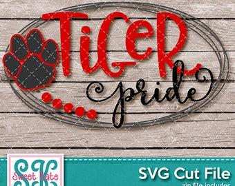 Tiger Pride SVG dxf EPS png JPG htv Heat Transfer Vinyl Cricut Explore Silhouette Cameo Sports Football Sweet Kate Designs