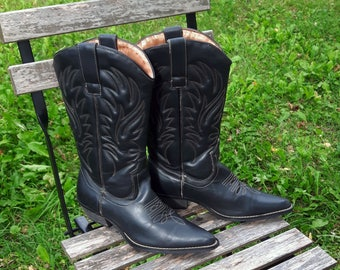 Vintage leather dark brown women boots cowboy cowgirl western embroidery country style boho