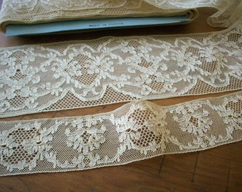 vintage French deep beige cotton lace lovely design