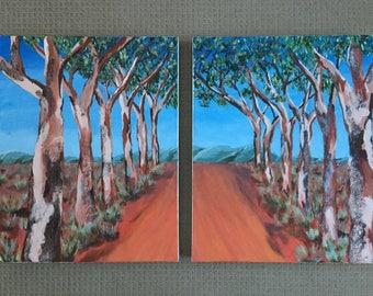 Australian Country Painting Set (2 Paintings), Original, Acrylic on Canvas, Australian Artist, Ready to Hang