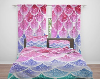Pastel Mist Mermaid Scales  Comforter or Duvet Cover Set  Twin, Full, Queen, King Bedding- Curtains, Rug