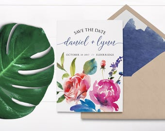 Watercolor Peonies - Watercolour Save The Date - Peonies Save the Date - Peony Wedding invitation - Peony Wedding Bouquet - Floral Invite