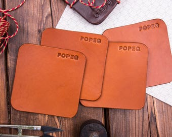 Leather Coasters (4 in set), Drink coasters, Full Grain Leather, Leather table decors, Housewarming Wedding Anniversary Gift