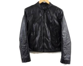 Vintage 1970s Black Leather Jacket - Small Womens - Golden Crown by Bristol - Moto Jacket - Motorcycle Leather - Black - VTG - Cafe Racer -