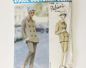 1960s Vogue sewing pattern, Vogue Couturier Design 1428 by Fabiani of Italy, stylish pants suit, trousers and jacket and slim skirt pattern