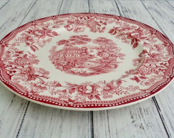 "Royal Staffordshire Red Tonquin By Clarice Cliff,  1940s Transferware 10"" Dinner Plate, Five Available, Red Rose Pink Vintage Transferware"