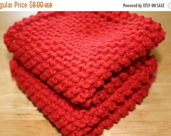 10% OFF SALE Red Knit Dish Cloth, Red Knit Dishcloth, Set of 2