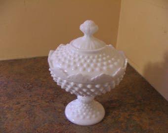 Vintage 1950s Fenton White Milk Glass Hobnail Covered Pedestal Candy Dish / Compote