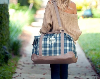 Middleton Plaid Collection, Weekender, Shoulder Bag, Zip Pouch, Monogrammed Gift, Embroidered Bags