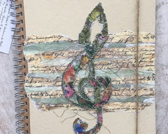 Fiddlestitch Treble Clef Notebook, Music Gift Book, Treble Clef Gift. Lined Notebook.