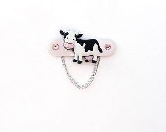 Black and White Cow Eyeglass Holde