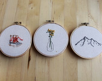 """Holiday Ornaments or home decor for the nature lover, 4"""" hand embroidered original artwork, as a set or sold separately"""