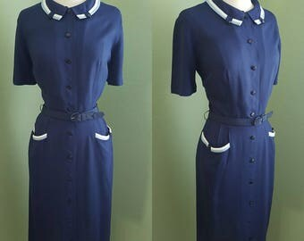 1950's Navy and White Day Dress 29w