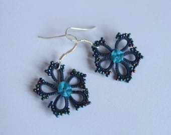 Earrings silk flower hook silver, lightweight earrings, jewelry child gift teenager gift spring pink or blue lace, lace floral earrings