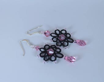 Earrings black and pink Swarovski crystal, thin light black lace jewelry feminine evening earrings fantasy delicate earrings black cocktail