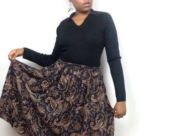 Vintage St. Micheal Paisley Peasant Skirt.