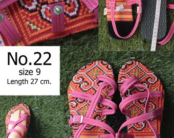 Shoes Slippers Traditional Hill tribe Fabric/ size 9/ Length 27 cm.( Please select the number No.018/No.19/No.20/No.21/No.22/No.23
