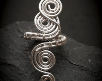 Silver Wire ring-wire wrapped ring handmade,Adjustable ring-silver ring-wire wrapped spiral ring-