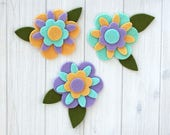 Felt Flowers & Leaves, 18 pieces, Flower Layers, Felt Florals, Die Cut Felt Shapes, Felt Applique, You Choose Colors