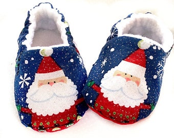 Christmas Baby Shoes,Santa Baby Shoes, Christmas Toddler slippers, Santa slippers