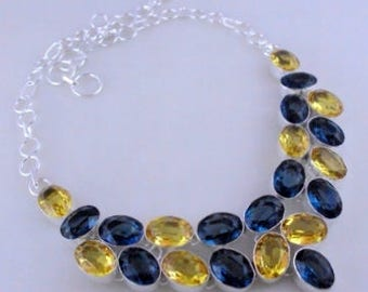 free shipping Citrine-Iolite .925 Silver Handmade Jewelry Necklace 65 Gr. F-416-29