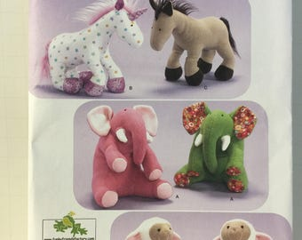 Stuffed Animal, Simplicity 2921, Sewing Pattern, Unicorn, Elephant, Lamb, Horse, Soft Sculptured, Baby Shower Gift, Child Stuffed Toy
