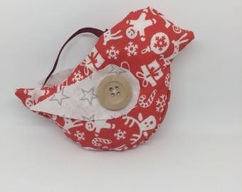 Textile bird bauble (red festive)